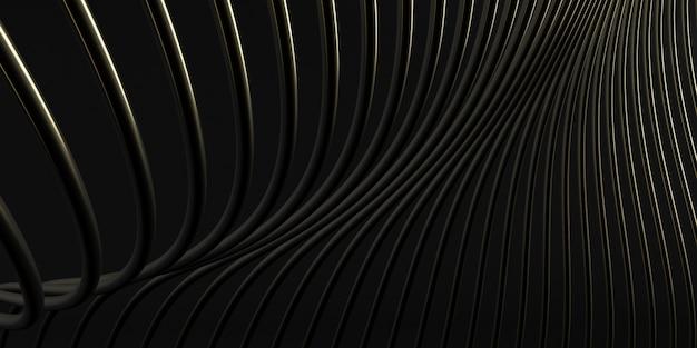 黒い空間、金色のねじれた形、建築の細部、将来の建築設計の見通しの要約。 3dレンダリング。