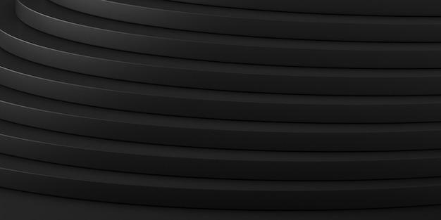 黒い空間、階段、建築の細部、輪郭、将来の建築設計の見通しの要約。 3dレンダリング。