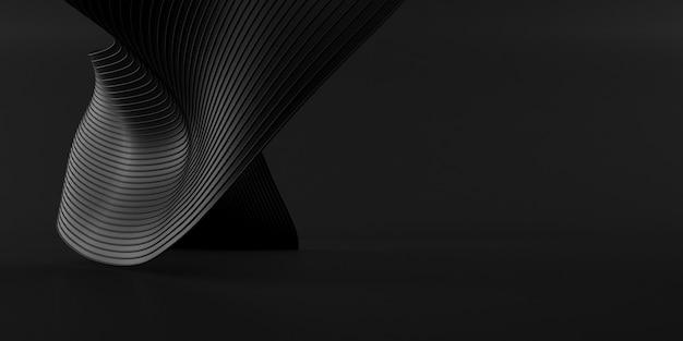 黒い空間、ねじれた形、建築の詳細、将来の建築設計の展望の要約。 3dレンダリング。