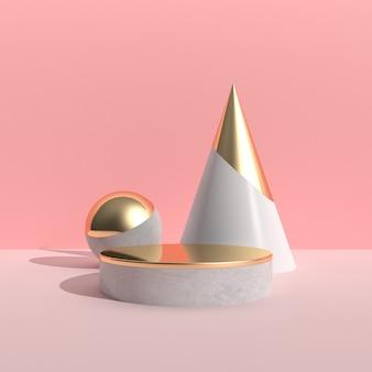 Минимальная абстрактная сцена с объектом геометрии и круглым подиумом, золотой текстурой на розовой стене, архитектурным дизайном с тенью и тенью. 3d-рендеринг.