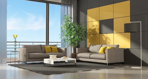 Серый и желтый современная гостиная с двумя диванами - 3d-рендеринг