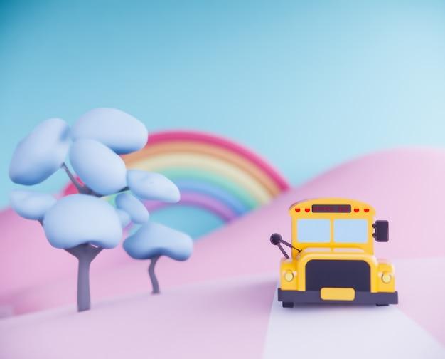 超現実的な背景に学校のバス。 3dレンダリング