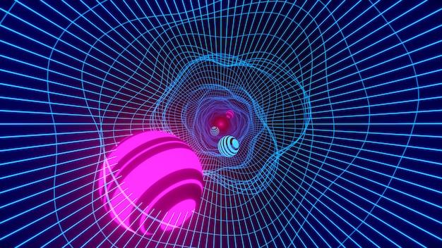 ループトンネルワームホール。サイエンスフィクションホール渦超空間トンネルの反り3dレンダリング