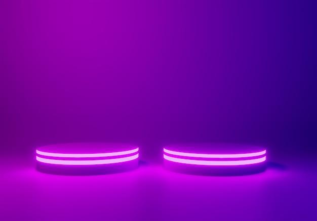 Неоновый фон сцены или подиум, 3d визуализации