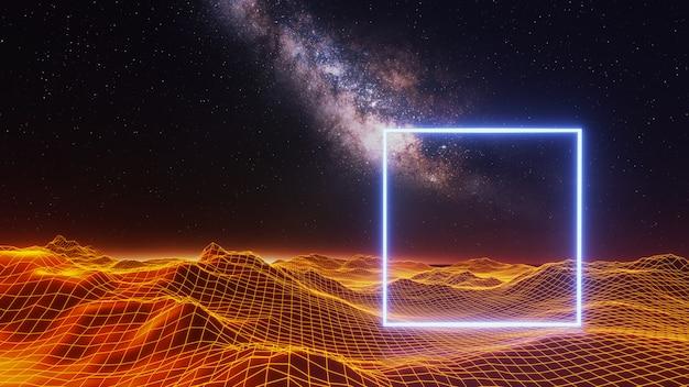 ファンタジーの宇宙空間の背景、ボリューム照明。 3dレンダリング