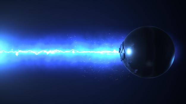 Синий лазер разрушает сферу 3d-рендеринга
