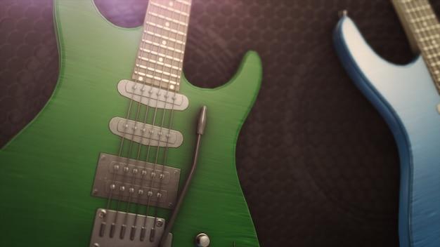 Синяя и зеленая электрогитара с большой иллюстрацией крупным планом 3d