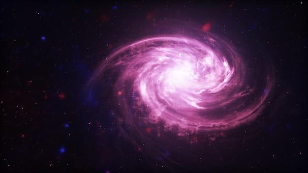 Яркая галактика. абстрактные звезды на черном фоне. фэнтези фрактальная текстура в красный, розовый и светло-фиолетовый цвета. цифровое искусство. 3d иллюстрация