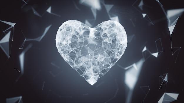 Значок цифрового сердца формируется из частиц в сетевом облаке линий и точек. сердце технологии 3d иллюстрации