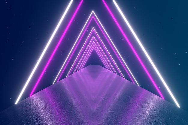 Пролетая сквозь светящиеся вращающиеся неоновые треугольники, создающие туннель, синий красный розовый фиолетовый спектр, флуоресцентный ультрафиолетовый свет, современное красочное освещение, 3d иллюстрации