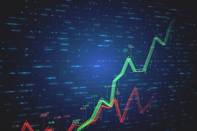 Две растущие линейные 3d иллюстрации, показывающие положительный и отрицательный рост и тенденции с числами в красно-зеленых на синем фоне технологий с движением