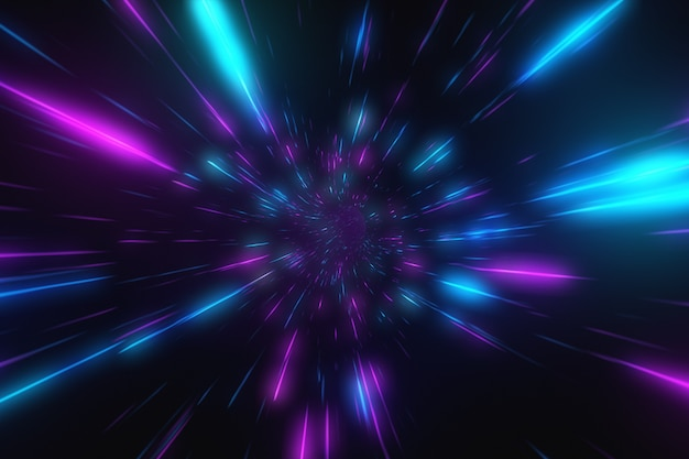 Абстрактный полет в ретро неон гипер деформации пространства в туннеле 3d иллюстрации