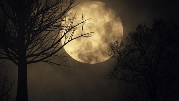 Жуткий лунный фон. силуэт дерева большая полная луна крупным планом промежуток времени. ночное небо 3d иллюстрация