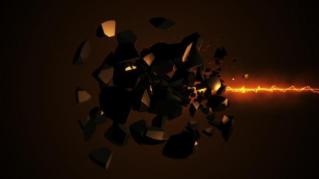 Огненный лазер разрушает сферу 3d иллюстрации