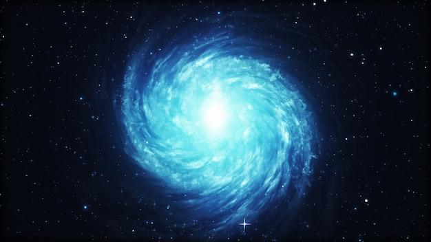 Вращающаяся спиральная галактика со звездами в космическом пространстве 3d иллюстрации