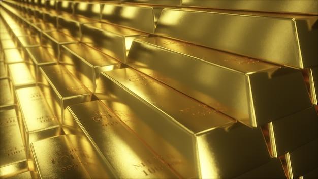 Иллюстрация 3d лестниц сделанных из золотых слитков