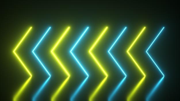 Мигающие яркие неоновые стрелки загораются и гаснут, указывая направление на отражающий пол. абстрактный фон, лазерное шоу. ультрафиолетовый неоновый синий желтый спектр света. 3d иллюстрация