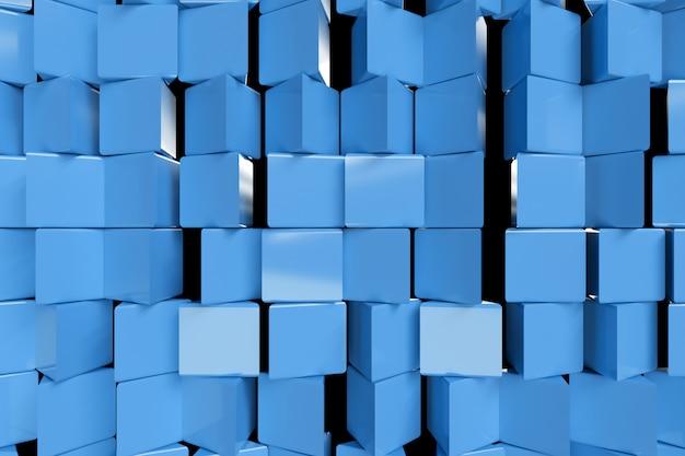 Металлические абстрактные кубы поворачиваются, 3d иллюстрации