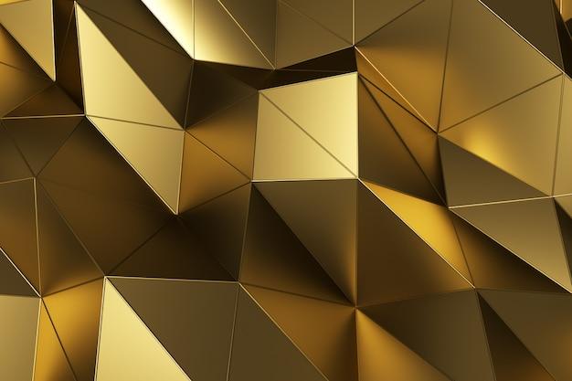 Абстрактная предпосылка геометрической поверхности золота. компьютерная анимация цикла. современный фон с многоугольной формы. дизайн иллюстрации движения 3d для плаката, крышки, клеймить, знамени.
