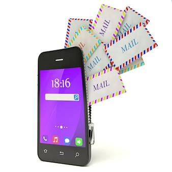 3d смартфон с облаком сообщений, изолированные