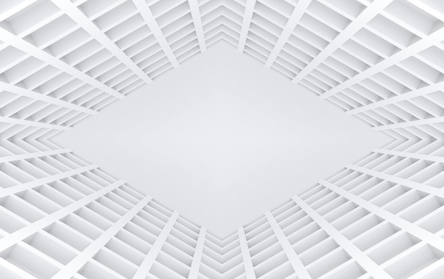 3dレンダリングモダンなスクエアグリッドトンネル錯覚壁デザインの背景。