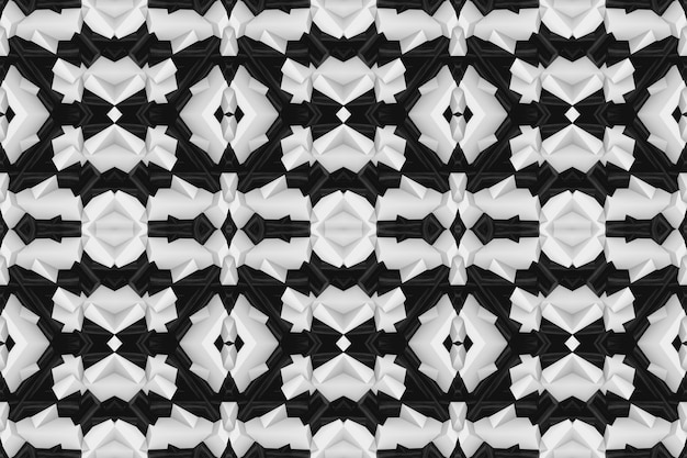 3dレンダリング。シームレスなモダンな黒白いポリゴン抽象的な形壁デザインアートの背景。