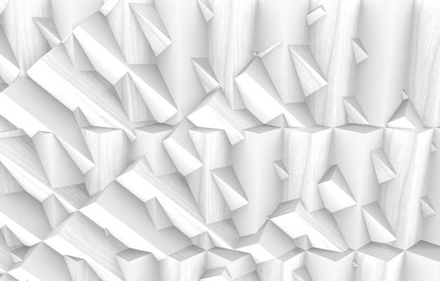 3dレンダリング。モダンな白い多角形の幾何学的なランダムな形状の壁デザインアート壁の背景。