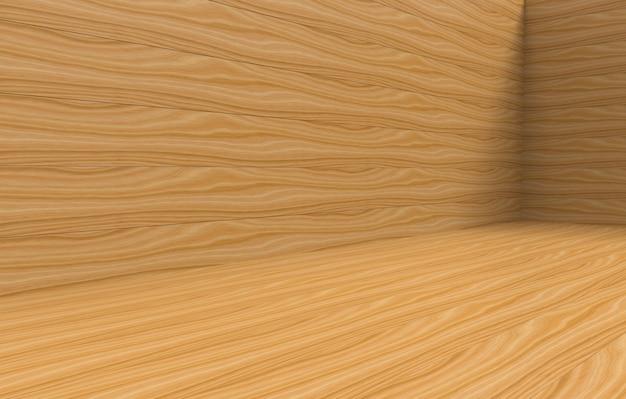3dレンダリング。任意のデザインテクスチャの茶色の木製パネルの壁と床の背景。