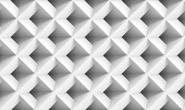 3dレンダリング。シームレスなミニマリスト斜め白い正方形グリッドアート壁の背景。