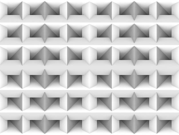 3dレンダリング。シームレスなシンプルな白い正方形グリッドアート壁の背景。