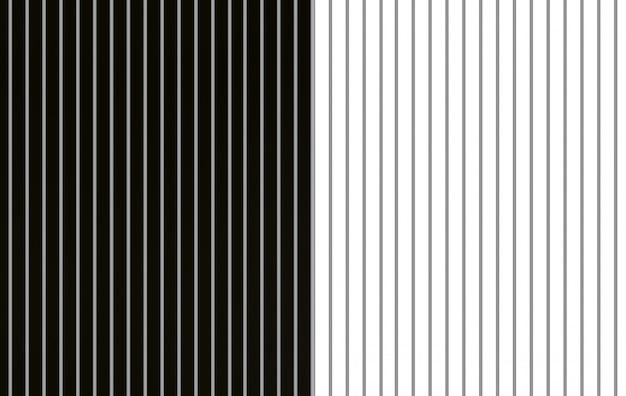 3dレンダリング。モダンな白と黒の交互平行垂直バーパターン壁床の背景。