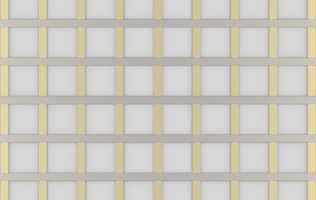 3dレンダリング。モダンで豪華なスクエアゴールドシルバーグリッドラインパターンデザインの壁の背景。