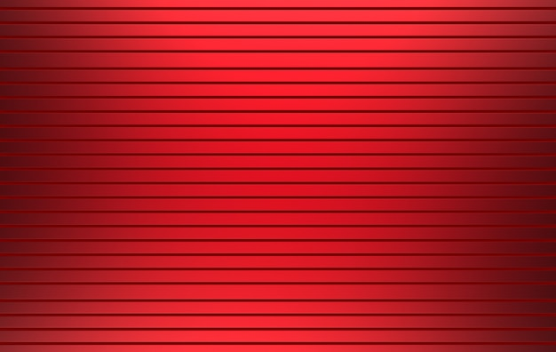 3d-рендеринг. красный цвет горизонтальная металлическая панель параллельного затвора двери фоне стены.