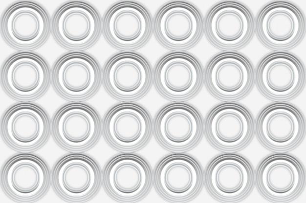 3dレンダリング。モダンなシームレスな白い円形パターン壁デザインの背景。