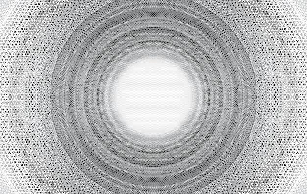 3dレンダリング。円形トンネルデザインアートバックグラウンドでシルバーメッシュ。
