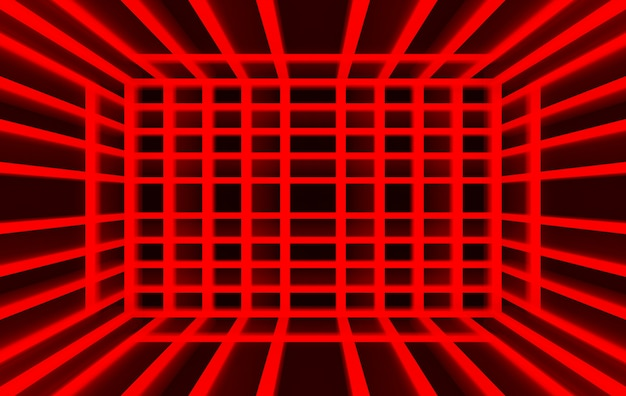 3d перевод, квадрат панели красного света на темной предпосылке стены,