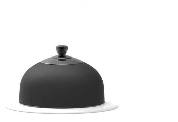 3d-рендеринг. черный колпак на скрытой тарелке с отсечения путь изолированы