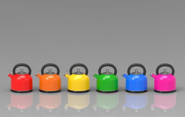 3d-рендеринг. чайник чайник многоцветный ряд
