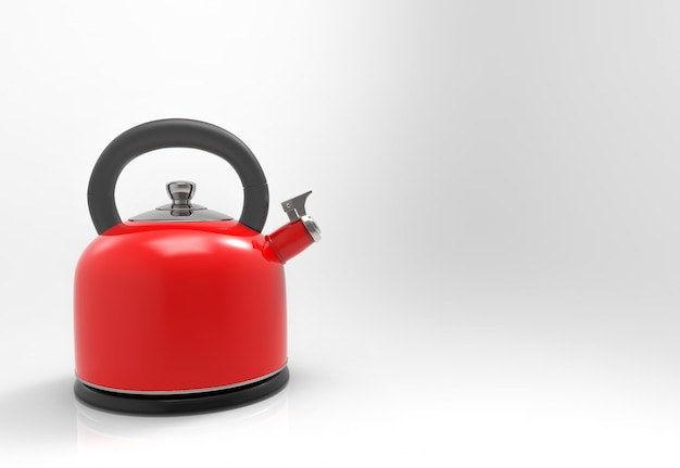 3d-рендеринг. чайник из красного металла