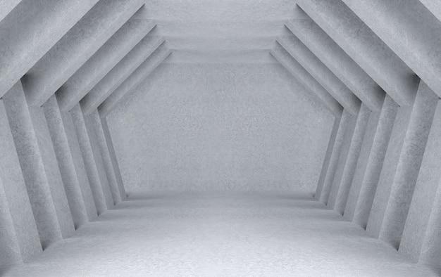 3dレンダリング。六角形のトンネル壁バックグラウンドで現代の大まかなセメント廊下。