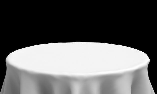 3dレンダリング。空の白いテーブルクロスの正面は、黒の背景に分離されたクリッピングパスとの結婚式のパーティーで使用します。