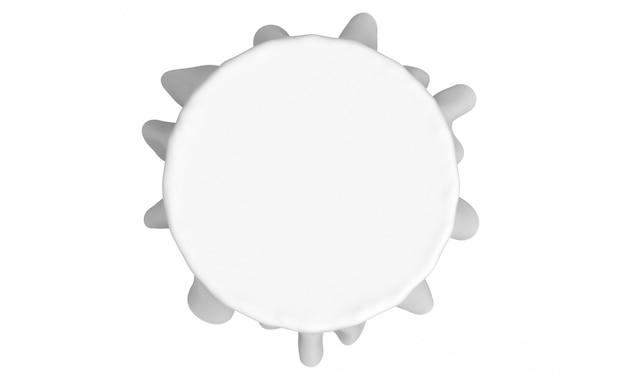 3dレンダリング。空の白いテーブルクロスの空撮は、白い背景で隔離のクリッピングパスとの結婚式のパーティーで使用します。