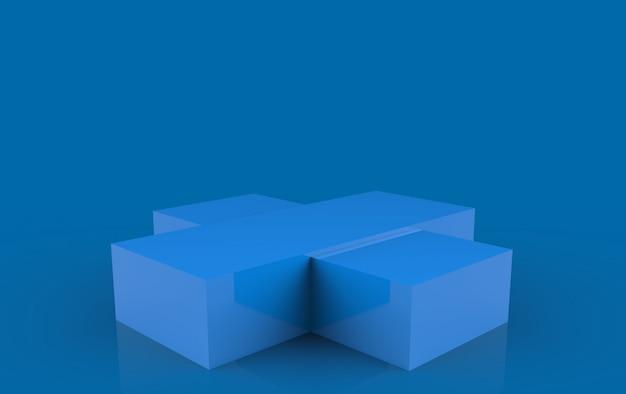 3d-рендеринг. простой пустой этап подиума синей коробки на темном фоне.