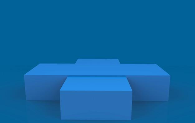 3d-рендеринг. просто пустой этап подиума синей коробки на темной предпосылке.