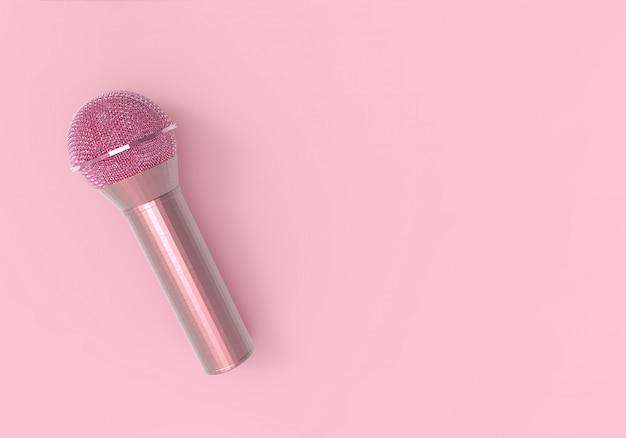3dレンダリング。ピンクのスウィートソフトピンクマイク。