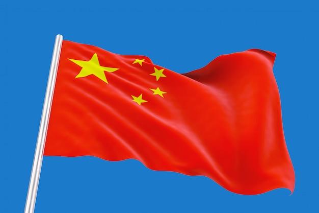 3dレンダリング。青い空に分離されたクリッピングパスと風の強い中国の国旗を振っています。