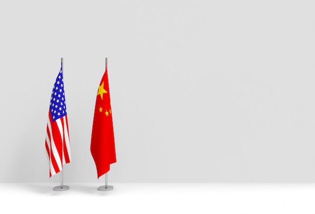 3dレンダリング。中国とアメリカの国旗ポール表彰台が白いセメントの壁に立っています。