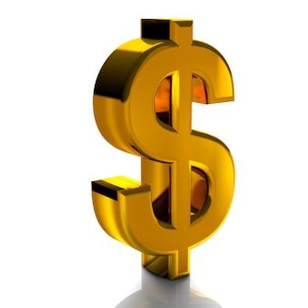 Символы валюты доллар золотой цвет 3d визуализации, изолированных на белом фоне