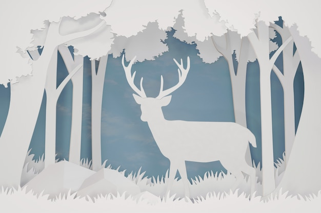 3dレンダリングデザイン、森の鹿のペーパーアートとクラフトスタイル。