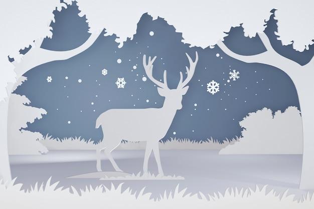 3dレンダリングデザイン、スノーフレークの森の鹿の紙アートとクラフトスタイル。